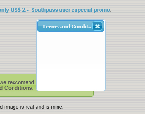 terms and conditions south pass not showing