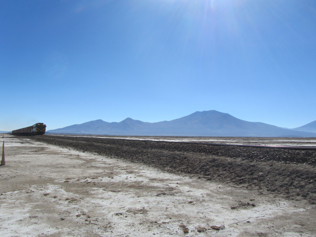 train passing in the bolivian salt flats