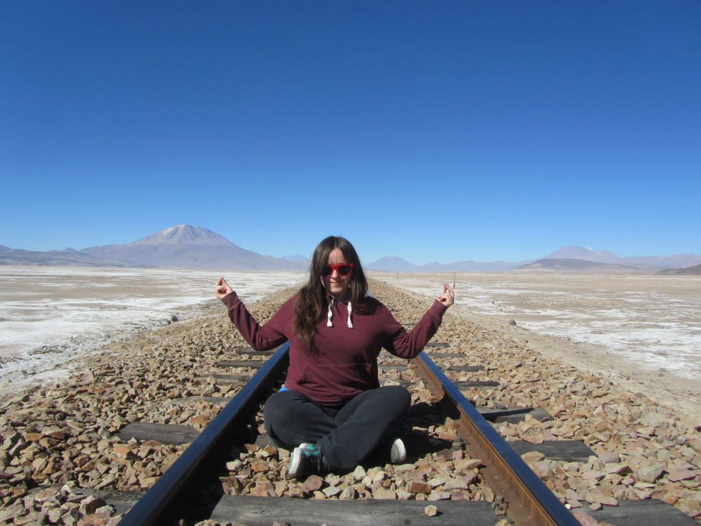 me on a railway track at the bolivian salt flats