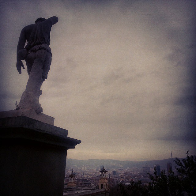 barcelona city view statue by runaway jane