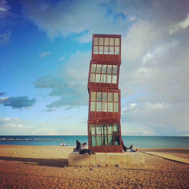 barcelona structure on the beach by runaway jane
